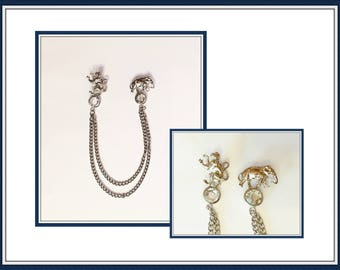 Sweater Guard Collar Pins, Elephant, Monkey, Silver Tone,Two Chains, Brooch, Blouse, Vintage 1980's