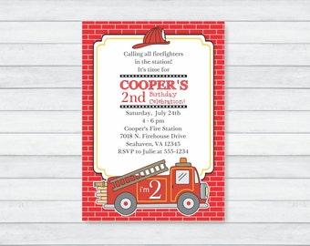 Fire Truck Invitation - Fireman Party Invitation - Firetruck Birthday Party Invitation - PRINTABLE, PERSONALIZED