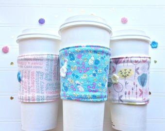Coffee Cup Cozy, Coffee Cup Sleeve, Cup Cozy, Cup Sleeve, Reusable Coffee Sleeve - Spring Pastels / Easter Bunnies  [83-85]