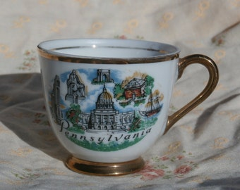 Pennsylvania Souvenir Demitasse Cup, Capitol and Monuments, White with Gold Trim