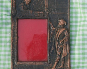 Romeo and Juliet Copper Color Cast Iron Photo Frame, Classic Vintage