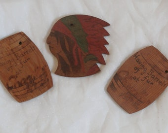 Indian Head and Barrels of Fun, Early Wood Souvenir of Chandler Arizona 3 Wooden Key chain Fobs or Charms