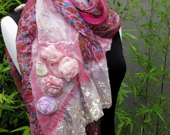 Large Floral Silk Wrap - Boho Style - Vintage Style Fashion Scarves - Vintage Rose 2