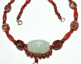 Red Jasper Choker with Carved White Jade Bead Necklace with Sterling