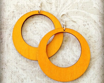 Large Orange Wood Hoop Earrings Boho Gypsy African Tichel Accessory Earrings Large Wooden Lightweight Earrings Ankara Wrap Accessory