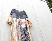 Upcycled Dress, Tshirt Dress, Patchwork Dress, Recycled Clothing, Repurposed Clothing, Fun Clothes, Refashioned Clothing, Plaid Shirt