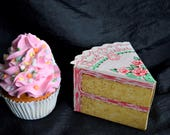 Vintage Bakery CAKE GIFT BOX Slice Pink Rose Faux Fake Printed Frosting Icing Fold Up Confection Card Best Wishes Candle Holder Dessert Nos