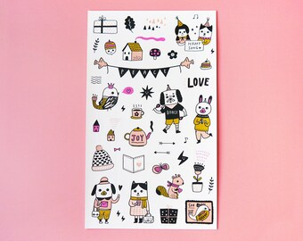 Happy Planner Sticker Sheet - Kiss Cut Stickers, Illustration Stickers, Planner Stickers, Diary Stickers, Kawaii Stickers, Craft Stickers
