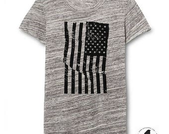 Womens Urban Grey American Flag Shirt - Womens tshirt - Ladies Flag Tshirt - Texture - Alternative Apparel - Small, Medium, Large, XL