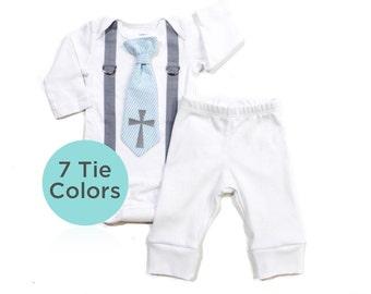 Baby Boy Baptism Set with Pants, infant boy baptism outfit, toddler boy, christening outfit, cross tie, blue tie, baptism bodysuit, newborn