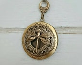 Dragonfly Locket Necklace - antique brass locket.