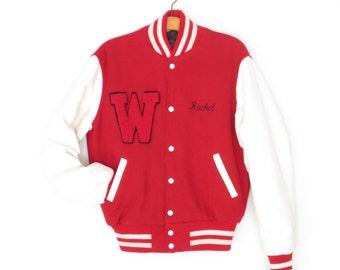 Vintage Varsity Jacket * Letterman Jacket * 90s Cheerleading Jacket * Wool Leather Coat * Medium