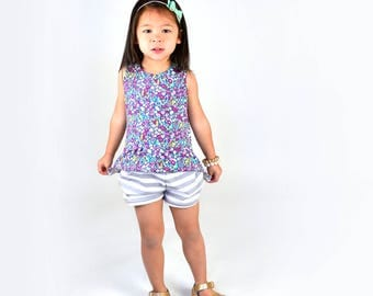 Peplum Top | Garden Dreams | Sizes 3 Months to 7/8 |girl top, floral, baby girl, ruffle shirt, purple, gray