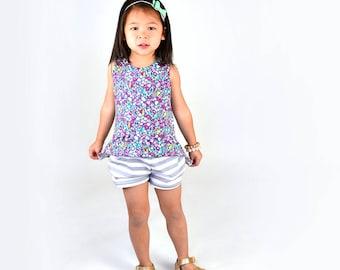 Peplum Top | Garden Dreams | Sizes 3 Months to 7/8 |girl top, floral, baby girl, ruffle shirt, purple, gray