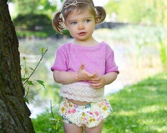 Bloomers | Dayspring | Sizes Newborn to 24 Months | Baby Girl bloomer, shorts, baby girl shorts, pink