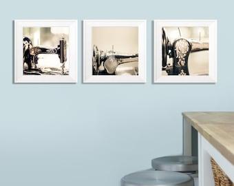 SALE, Craft Room Prints, Black, Gold, Vintage Sewing Machines, Photo Set of 3 Prints, Save 50%