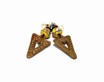 Long Tribal Earrings. Colorful Boho Rustic Earrings. Artisan Metal Clay Charms. Long Dangle Earrings. Gifts For Her. Lampwork Bead Jewelry.