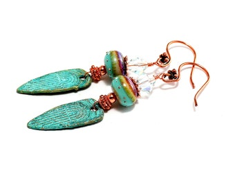 Turquoise Glass Bead Earrings. Long Dangle Earrings. Rustic Boho Tribal Patina Earrings. Lampwork Bead Jewelry.