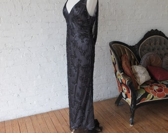 Black art deco vintage inspired beaded dress with deep cowl backless dress