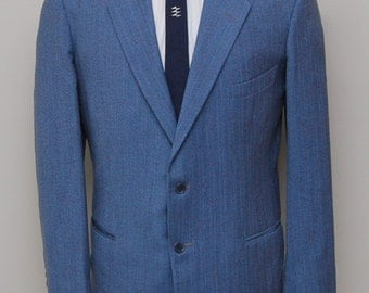 1950s men's blue stripe fleck wool blazer/ 50s men's blue stripe blazer/ Custom