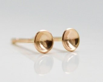 14k Gold Moon Stud Earrings - Tiny Solid 14 Kt Gold Hemisphere Studs - Nickel Free - 14kt Cartilage and Second Hole Studs - Hook And Matter