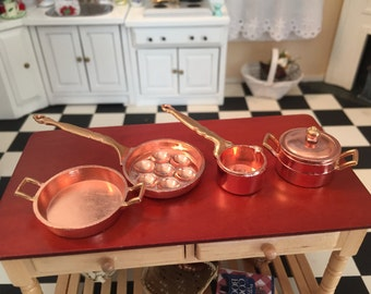 Miniature Copper Pots & Pans Set, Style 58, Dollhouse Miniature, 1:12 Scale, Dollhouse Kitchen Accessories, Decor, Copper Cookware Set