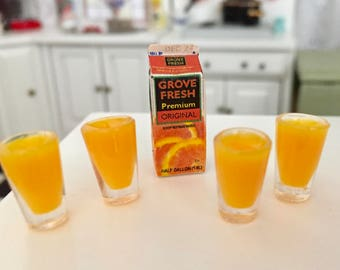 Miniature Orange Juice Carton and 4 Filled Glasses, Dollhouse Miniatures, 1:12 Scale, Dollhouse Food, Accessories, Decor