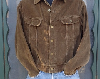 Vintage 1970s Lee Leens Slim MR Chocolate Brown Corduroy Jacket-Size Large- 44