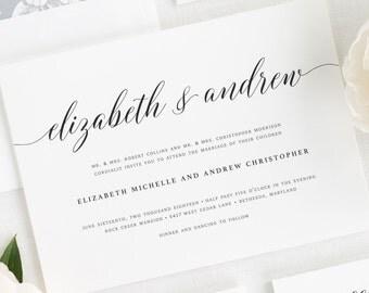 Elegant Romance Wedding Invitations - Sample