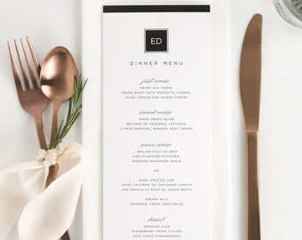 Modern Glamour Dinner Menus - Deposit