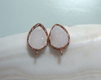 Natural White Druzy ear post, Handmade Rose Gold over 925 sterling silver lotus rim bezel druzy ear post with ear nuts, TerraFinds Design