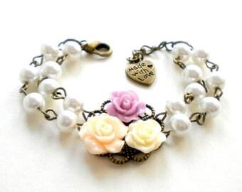 Flower Girl Jewelry Shabby Chic Jewelry Baby Girl Bracelet Flower Girl Bracelet Rose And Flower Bracelet Little Girl Jewelry