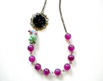 Exotic Necklace Parrot Necklace Tropical Jewelry Exotic Bird Necklace Tropical Statement Necklace Purple Necklace Flower Summer Jewelry