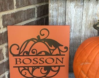 Pumpkin Fall Sign ~ Fall Decor ~ Family Established Sign ~ Fall Family Custom Wood Sign ~ Fall Family Name ~ Thanksgiving Mantle