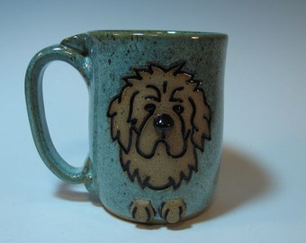 Newfoundland Newfie Large Dog Mug in Frosty Blue Green - Holds 18 ounces - In Stock