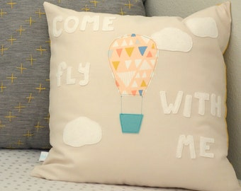 Come Fly With Me Pillow - Pillow Cover - Adventure - Nursery - Hot air balloon
