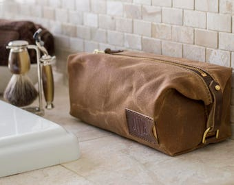 Personalized Dopp Kit: Expandable, Men's Toiletry Bag, Travel, Waxed Canvas, Brown - No. 345 (Made in the USA) FREE Domestic SHIPPING