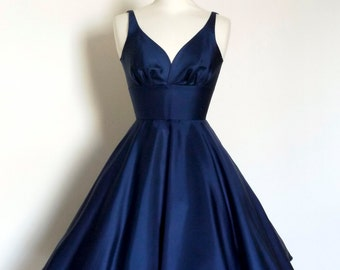 Navy Blue Silk Twill Swing Dress - Made by Dig For Victory