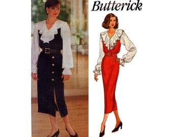 90s Butterick 6900 Ruffled Steampunk Blouse and Jumper Vintage Sewing Pattern Size 12 14 16 Bust  34 36 38 inches UNCUT Factory Folded