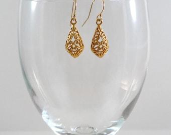 Gold Vermeil Earrings Gold Vermeil Drop Earrings Gold Vermeil Dangle Earrings Bali Earrings Vermeil Earrings Gold Sterling Earrings