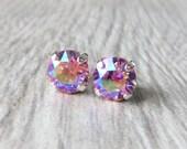 Light Pink AB Swarovski Stud Earrings, Crystal Rhinestone Stud Earrings, Aurora Borealis Prism Post Earrings, Silver Round Crystal Studs