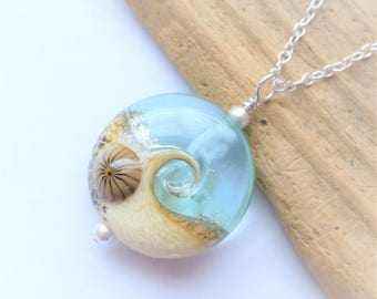 Beach Necklace, Ocean Wave Jewelry, Clear Glossy Wave Necklace, Lampwork Sea Glass Necklace, Beach Wedding, Gift for Her, Sterling Silver