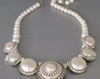 Big, Bold and Beautiful Statement Necklace from Vintage Rhinestone and Pearl Earrings
