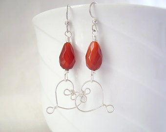CarnelianTeardrop Earrings, Silver Heart, Pentecost, Wire Earrings, Valentine Gift, Gemstone Jewelry, Red Orange, 687