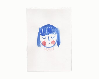 Original Illustration A5 - Girl Blue No.1