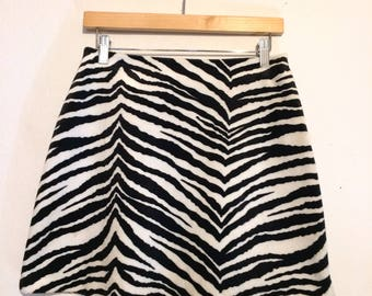 Zebra Striped Fuzzy Mini Skirt