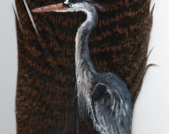 Great Blue Heron Hand Painted on Turkey Feather, Framed