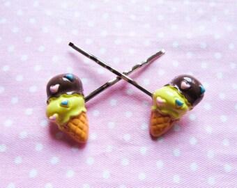 Cute Ice Cream Hair Pins / Bobby Pins, Kawaii Hair Pins / Bobby Pins, Sweet Lolita, Ice Cream Cone