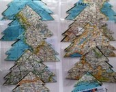 Wholesale - 10 Map Tree Ornaments - Reclaimed Vintage National Geographic Atlas - Handmade Green Xmas Decoration