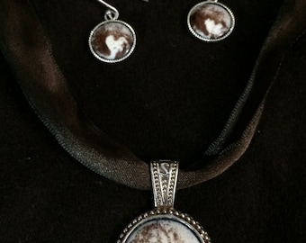 Pluto Necklace and Earrings set
